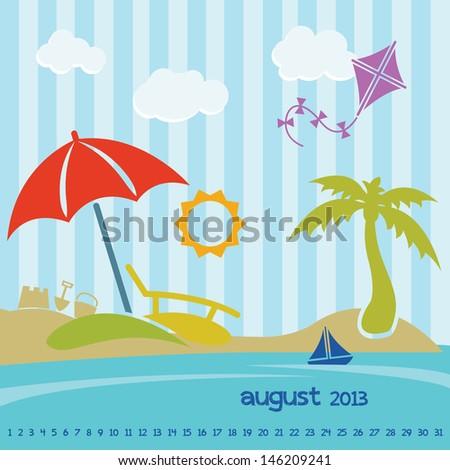 Retro Beach Calendar for August 2013 - stock vector