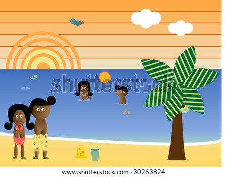 Retro Beach Sunset Landscape African American Family Vacation