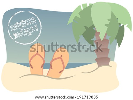 retro beach with flip-flops, palm tree and stamp  - stock vector