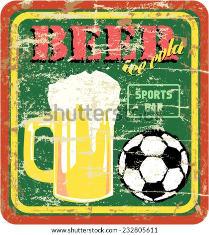retro beer and sports bar sign, vector illustration - stock vector