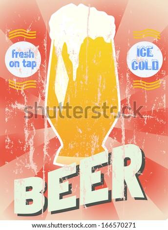Retro beer illustration, vector format - stock vector