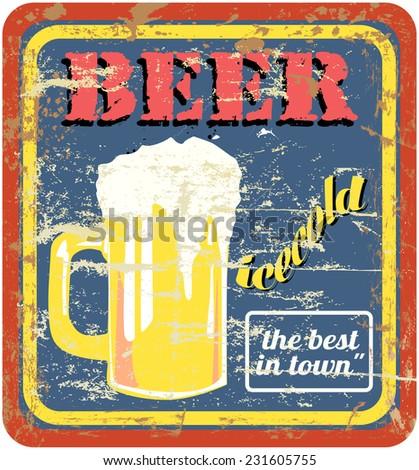 retro beer or bar sign, free copy space, vector - stock vector