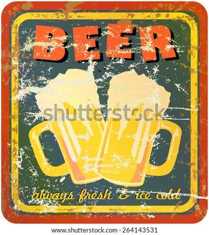 retro beer sign, vector, grungy style - stock vector