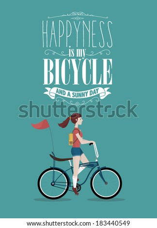 Retro Bicycle Illustration WIth Hipster Character - stock vector