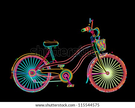 Retro bicycle in colors, stylized design over black background - stock vector