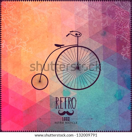 Retro bicycle on hipster background made of triangles with grunge paper. Retro background with floral ornament and geometric shapes. - stock vector