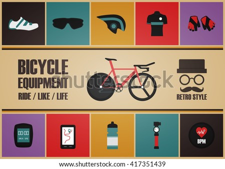 retro bicycle poster, pastel and vintage style - stock vector