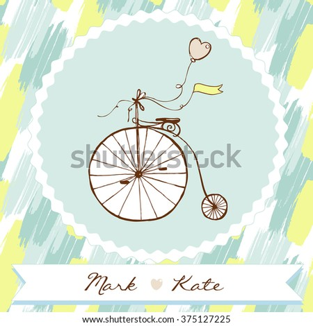 Retro bicycle. Romantic postcard. Save the date. Hand drawn vector illustration