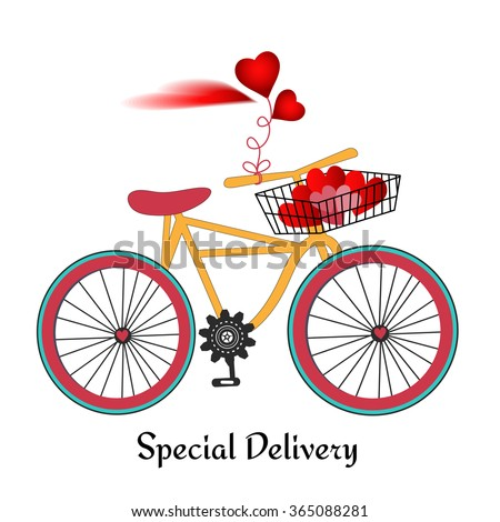 Retro bicycle with basket  and heart cloud  (remove hearts in basket and add your input) - stock vector