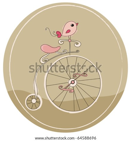 Retro bicycle with bird - stock vector