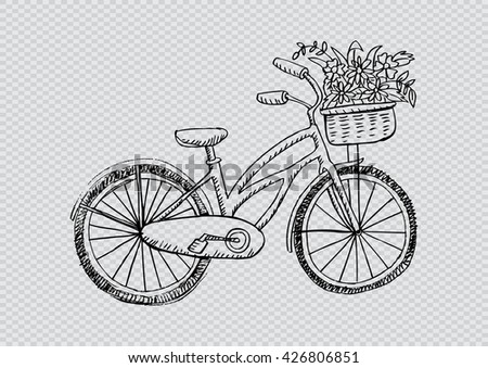 Retro Bicycle Flower Basket Hand Drawing Stock Vector ...