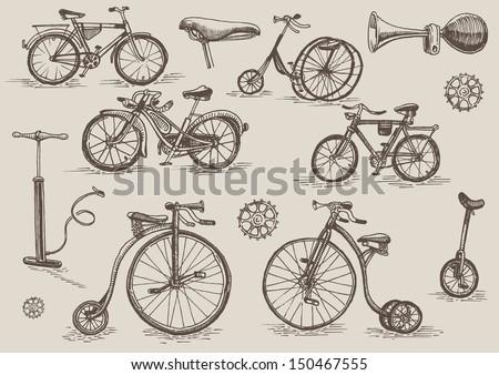 retro bicycles vector set - stock vector