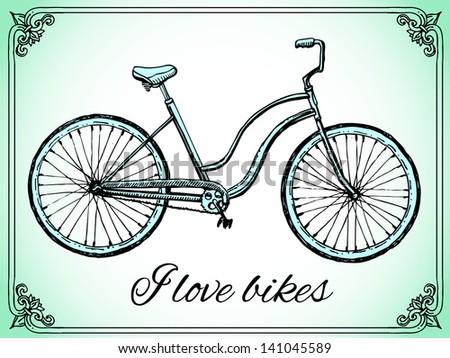 retro bike - stock vector