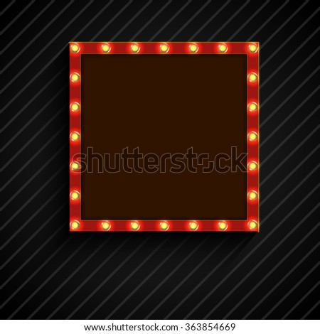 Retro billboard with lamps for space text black background.vector - stock vector
