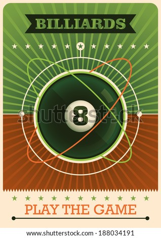 Retro billiards poster. Vector illustration. - stock vector