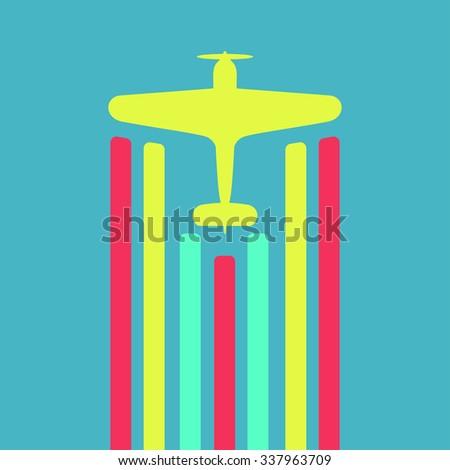 Retro biplane vector illustration. - stock vector