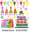 Retro Birthday Celebration Collection - stock vector