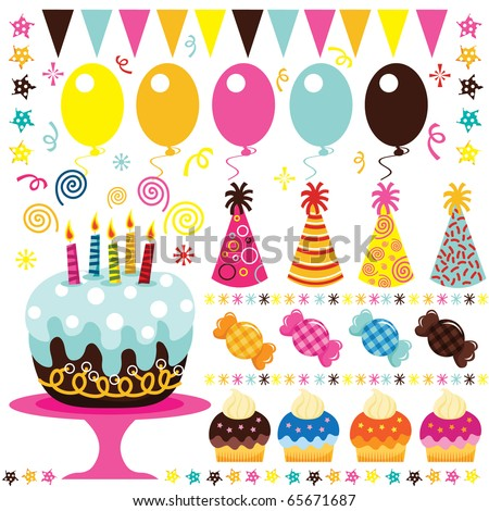 Retro Birthday Party Elements - stock vector