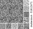 Retro black and white seamless wallpapers - stock