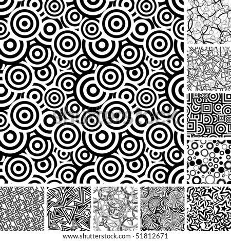 Retro black and white seamless wallpapers - stock vector