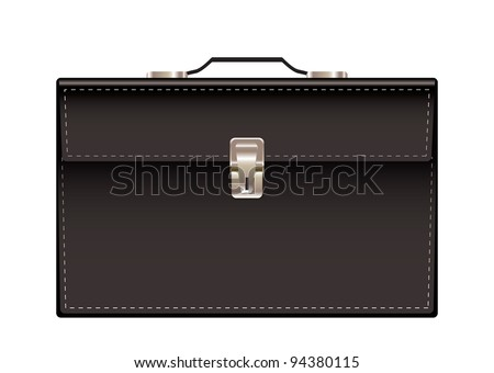 Retro black leather briefcase with handle and stitching