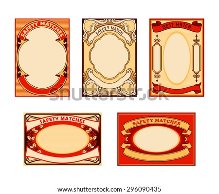 Retro blank safety matches labels isolated - stock vector