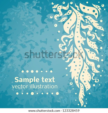 Retro blue colored wall with shape pattern of leaf, wave and bubble. Vector illustration for your vintage design. Easy to edit and color change. - stock vector