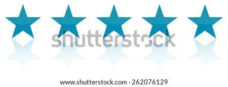 Retro Blue Five Star Product Quality Rating - stock vector