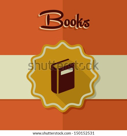 Retro books icon gold label illustration. Vector file layered for easy manipulation and custom coloring. - stock vector