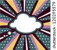 retro Boom, Pop art inspired illustration of a explosion cloud comic book style background - stock vector