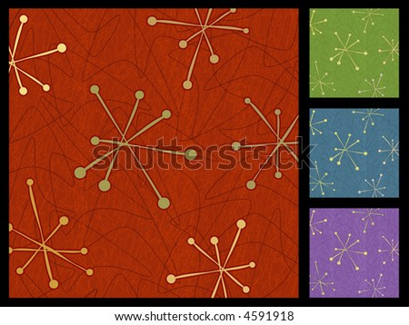 Retro Boomerangs Stars Background in 4 color sets. Each item is whole and grouped so you can use them independently from the background. Layered file for easy edit. - stock vector