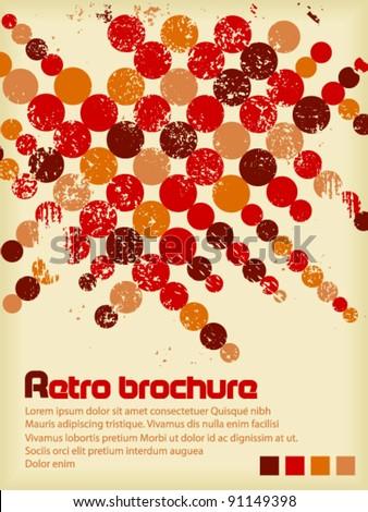 Retro brochure with color circles - stock vector