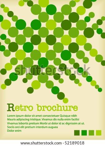 Retro brochure with green circles - stock vector