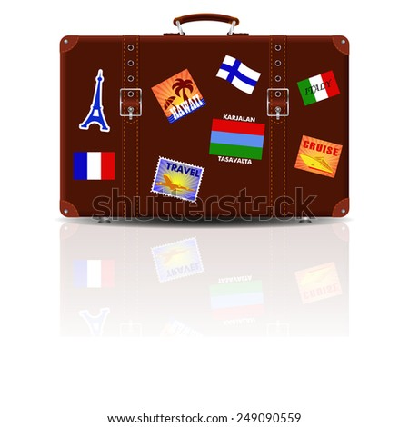 Retro brown leather suitcase with stickers from his travels. - stock vector