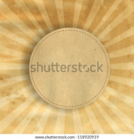 Retro Brown Vintage Square Sunburst With Gradient Mesh, Vector Illustration - stock vector