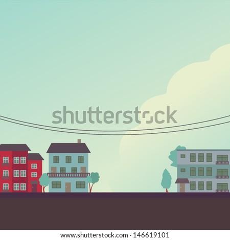 Retro building background - stock vector