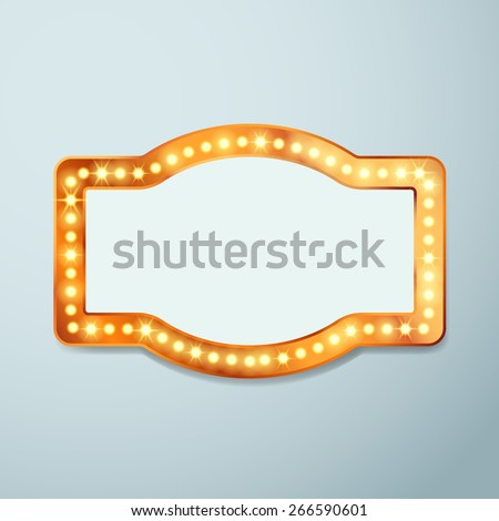 Retro bulb circus cinema light sign template - vintage old frame theater casino or circus illuminated banner. Vector illustration - stock vector