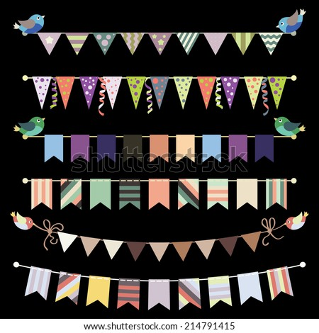 Retro bunting and garland set vector. Template for design. - stock vector