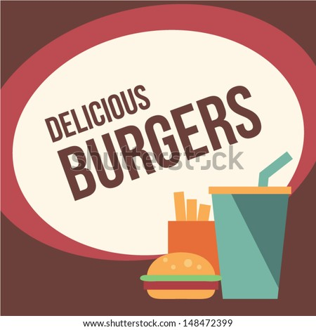 Retro burger background - stock vector