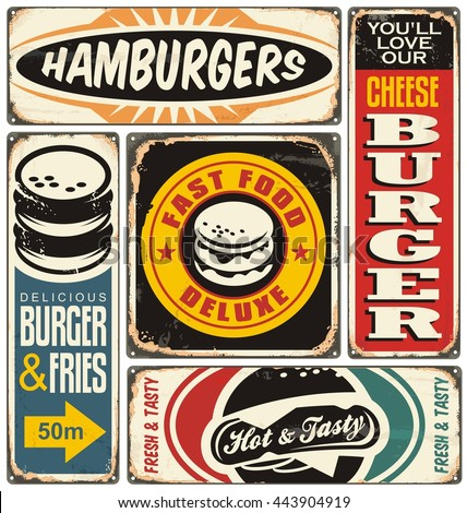 Retro burger signs collection on old damaged background. Fast food vintage vector illustration. - stock vector