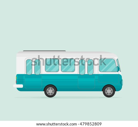 Retro bus. Flat vector.