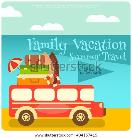 Retro Bus with Luggage on Roof. Travel Bus on the Beach. Vector Illustration. - stock vector
