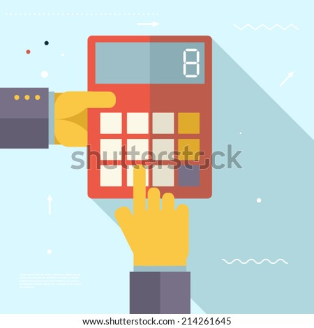 Retro Business Hands with Calculator Financial Settlements Symbol Real Estate City Trendy Modern Flat Design Concept Template Vector Illustration - stock vector