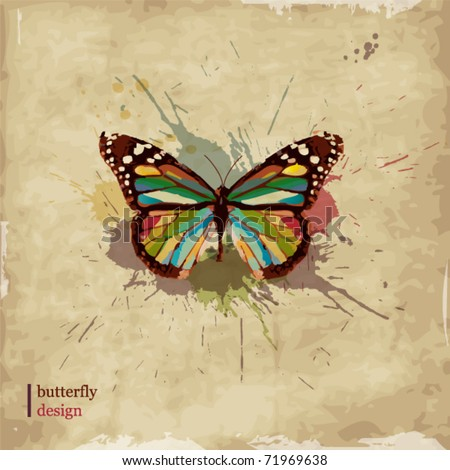Retro butterfly design on old paper - stock vector