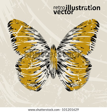 retro butterfly on old background, colorful abstract illustration eps10 - stock vector