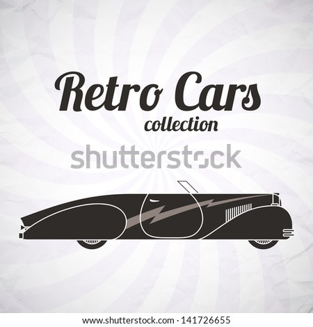 Retro cabriolet sport car, vintage collection, classic garage sign, vector illustration background, can be used for design, invitations card, infographics - stock vector