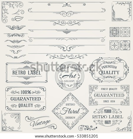 Retro Calligraphic Design Elements and Page Decoration Set. Vector Illustration.