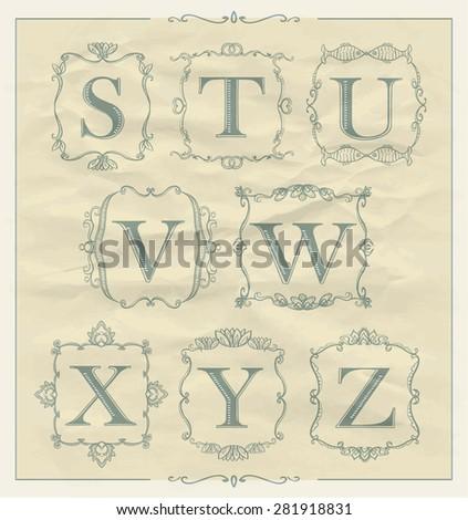 Retro calligraphic letters set in monogram retro frames, alphabet logo set - S, T, U, V, W, X, Y, Z - stock vector