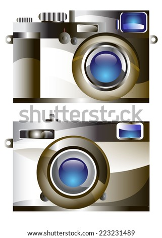 retro camera  vector digital lens focus photo - stock vector