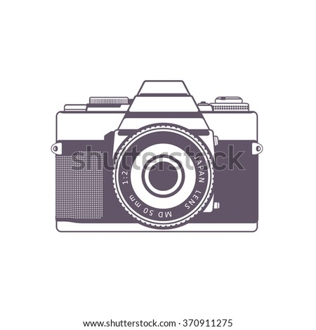 Retro camera, vintage SLR camera isolated over white, vector illustration